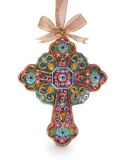 Jay Strongwater Jeweled Cross Glass Ornament - Jewel