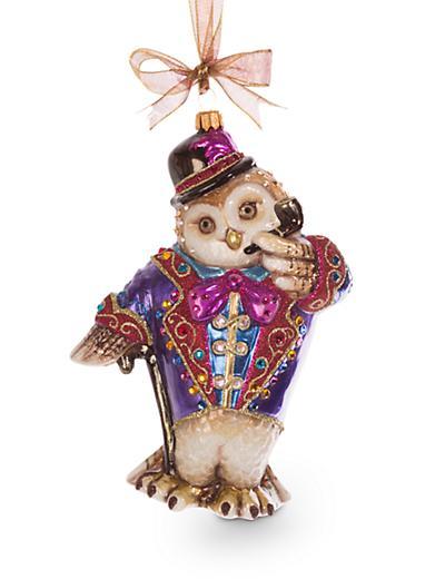 Jay Strongwater Jubilee Owl Glass Ornament - Jewel