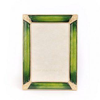 "Jay Strongwater Leonard Pave Corner 4"" x 6"" Frame - Emerald"