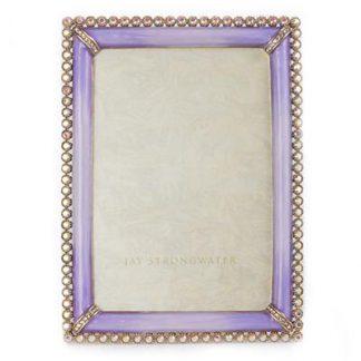 "Jay Strongwater Lorraine Stone Edge 4"" x 6"" Frame - Lavender"