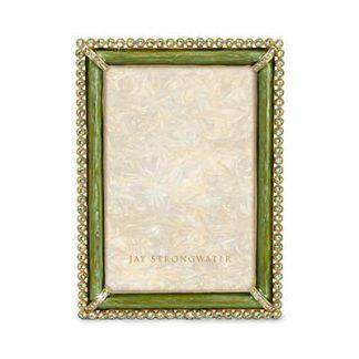 "Jay Strongwater Lorraine Stone Edge 4"" x 6"" Frame - Leaf"
