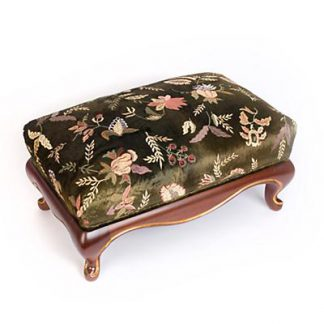 Jay Strongwater Melba Floral Ottoman - Jewel