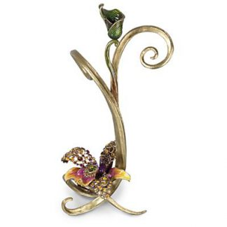 Jay Strongwater Mirabelle Orchid Single Candlestick - Flora