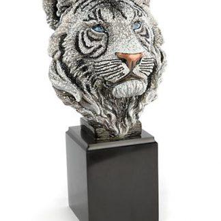 Jay Strongwater Monroe Tiger Head Objet - Jet Crystal