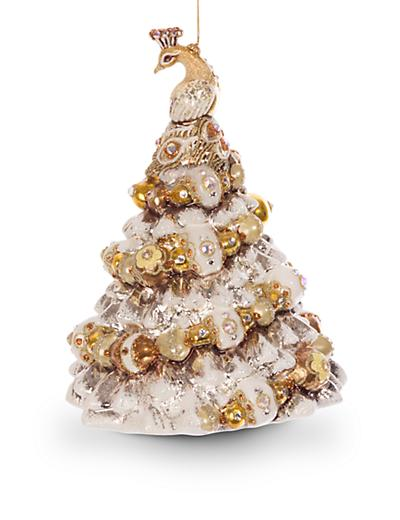 Jay Strongwater Peacock Christmas Tree Glass Ornament Golden