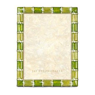 "Jay Strongwater Pierce Striped 5"" x 7"" Frame  - Leaf"