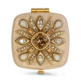Jay Strongwater Schuyler Maltese Bejeweled Compact - Golden