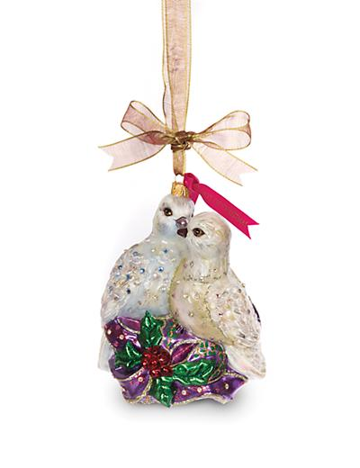 Jay Strongwater Two Turtle Doves Glass Ornament - Jewel