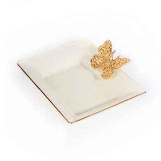 Jay Strongwater Velma Porcelain Butterfly Tray - Gold