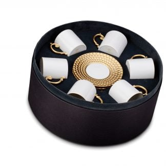 L Objet Aegean Gold Espresso Cup Saucer Gift Box Of 6
