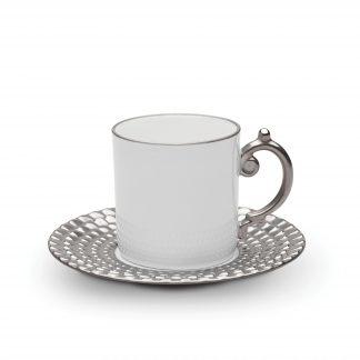 L Objet Aegean Platinum Espresso Cup Saucer