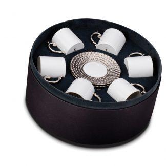 L Objet Aegean Platinum Espresso Cup Saucer Gift Box Of 6