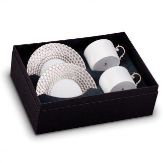 L Objet Aegean Platinum Tea Cup Saucer Gift Box Of 2
