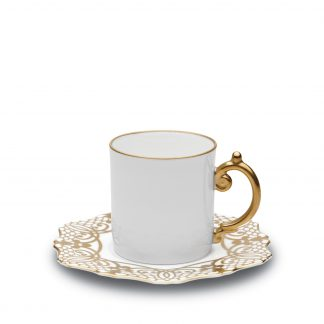 L Objet Alencon Gold Espresso Cup Saucer