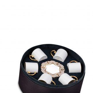 L Objet Alencon Gold Espresso Cup Saucer Gift Box Of 6