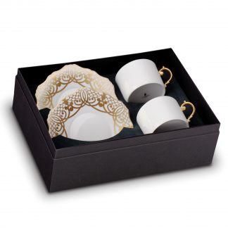 L Objet Alencon Gold Tea Cup Saucer Gift Box Of 2