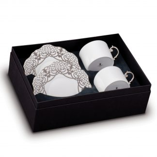 L Objet Alencon Platinum Tea Cup Saucer Gift Box Of 2
