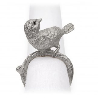 L Objet Bird Platinum Blue Crystals