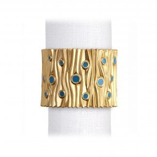 L Objet Bois Bois Dor Gold Turquoise Enamel