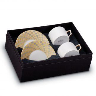 L Objet Byzanteum Tricolor Tea Cup Saucer Gift Box Of 2
