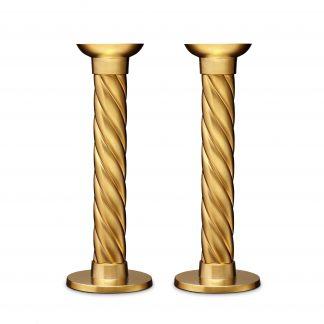 L Objet Carrousel Gold Candlesticks Large Set Of 2