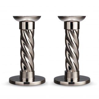 L Objet Carrousel Nickelplate Candlesticks Small Set Of 2