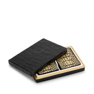 L Objet Crocodile Gold Box With Playing Cards Two Decks