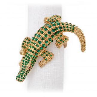 L Objet Crocodile Gold Green Crystals