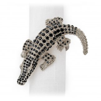 L Objet Crocodile Platinum Black Crystals