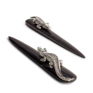 L Objet Crocodile Platinum Letter Opener