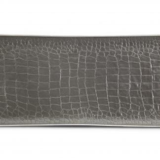 L Objet Crocodile Platinum Rectangular Tray Medium