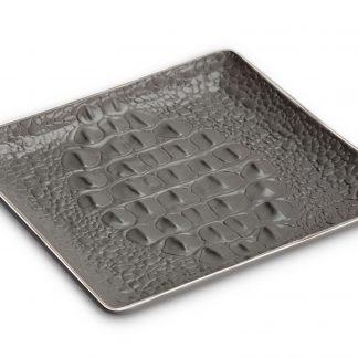 L Objet Crocodile Platinum Square Tray