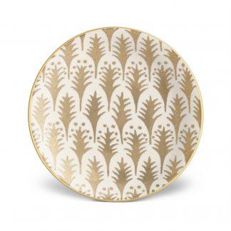 L Objet Fortuny Canape Plates Piumette White Gold