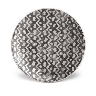 L Objet Fortuny Canape Plates Tapa Black Platinum
