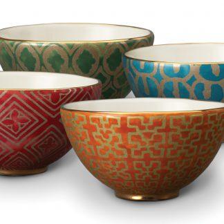 L Objet Fortuny Cereal Bowls Assortment Red Orange Green Teal