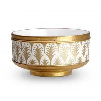 L Objet Fortuny Cereal Bowls Piumette White Gold