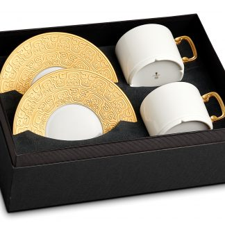 L Objet Han Gold Tea Cup Saucer Gift Box Of 2