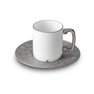 L Objet Han Platinum Espresso Cup Saucer