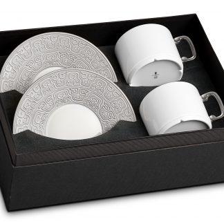 L Objet Han Platinum Tea Cup Saucer Gift Box Of 2