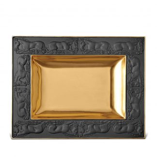 L Objet Horse Black Rectangular Tray
