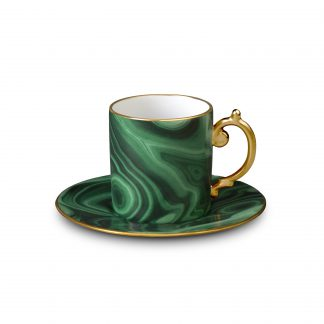 L Objet Malachite Espresso Cup Saucer