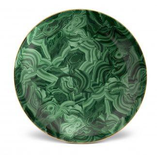 L Objet Malachite Round Platter