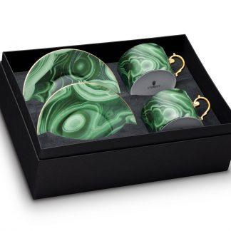 L Objet Malachite Tea Cup Saucer Gift Box Of 2