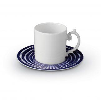 L Objet Perle Bleu Espresso Cup Saucer