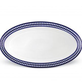 L Objet Perle Bleu Oval Platter Large