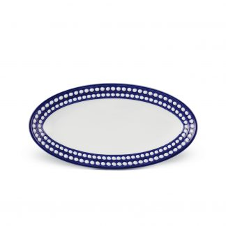 L Objet Perle Bleu Oval Platter Small