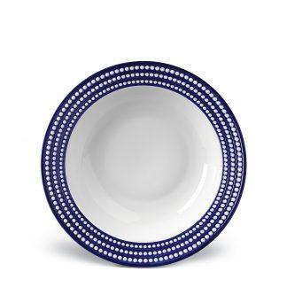 L Objet Perle Bleu Rimmed Serving Bowl
