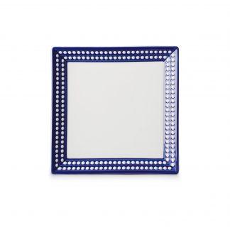 L Objet Perle Bleu Square Tray