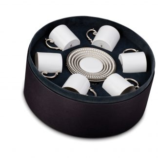 L Objet Perle Platinum Espresso Cup Saucer Gift Box Of 6