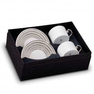 L Objet Perle Platinum Tea Cup Saucer Gift Box Of 2